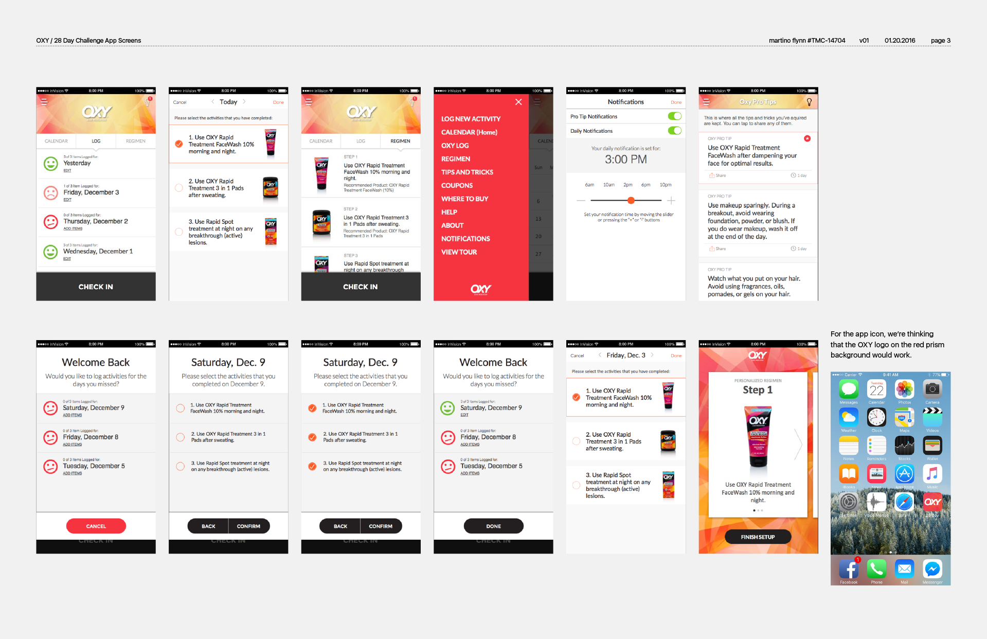 App UX Screens