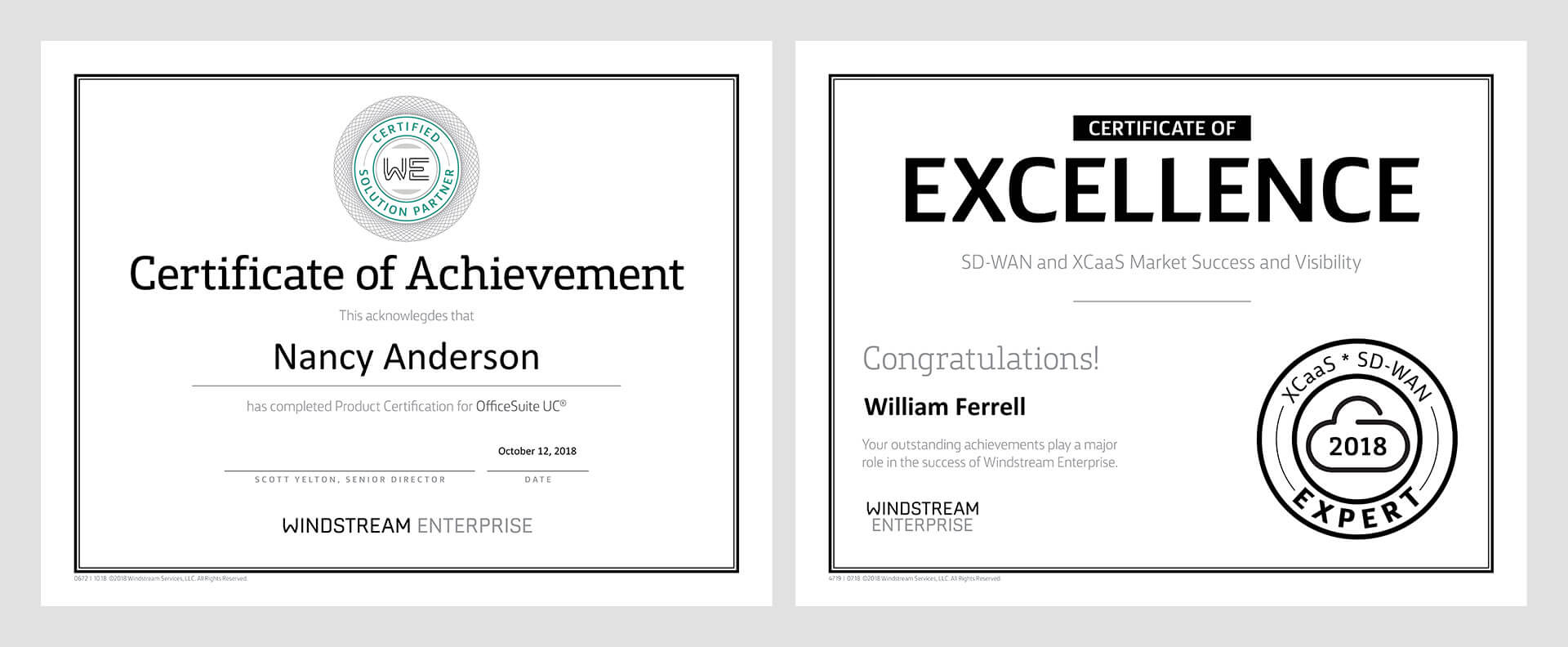 Windstream Marcom Certificates